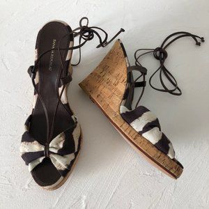Banana Republic Cork Wedge Animal Print Sandals 9